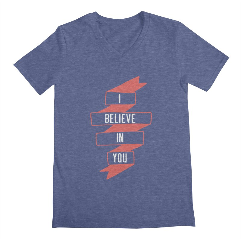 I Believe in You Men's Regular V-Neck by Hello Happiness!