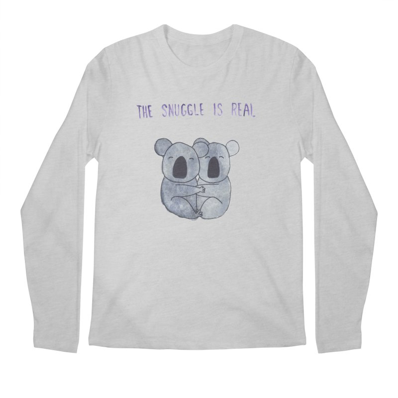 The Snuggle is Real Men's Regular Longsleeve T-Shirt by Hello Happiness!