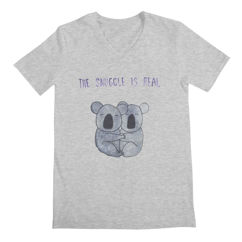 The Snuggle is Real Men's Regular V-Neck by Hello Happiness!