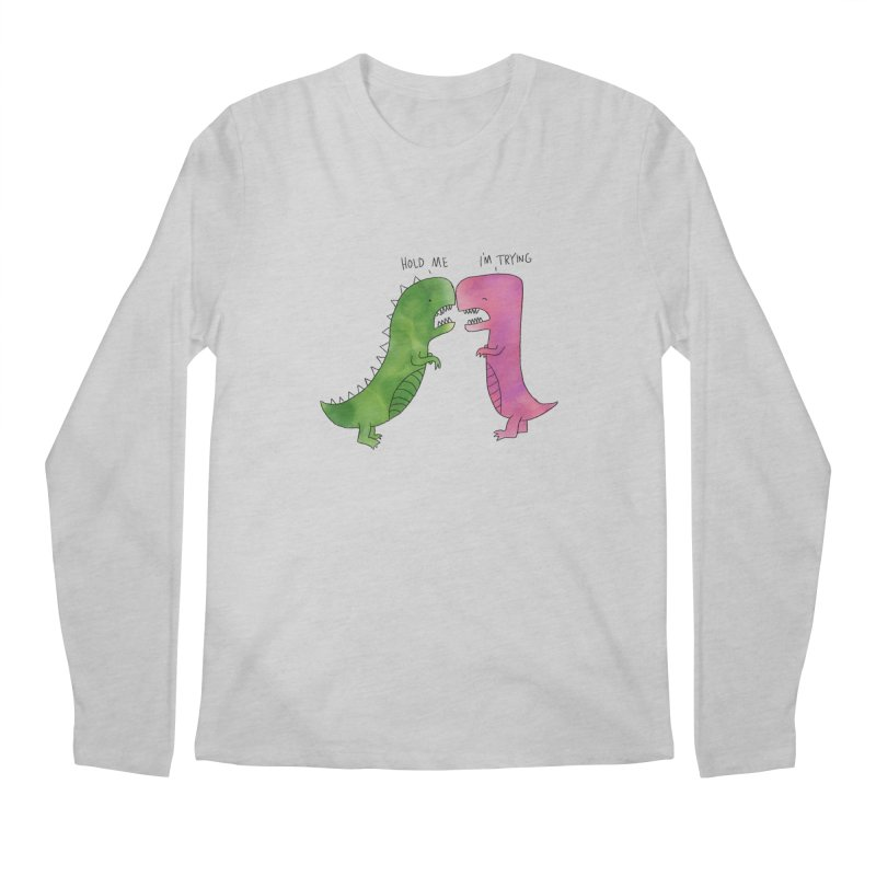 Hold Me Dinosaurs Men's Regular Longsleeve T-Shirt by Hello Happiness!
