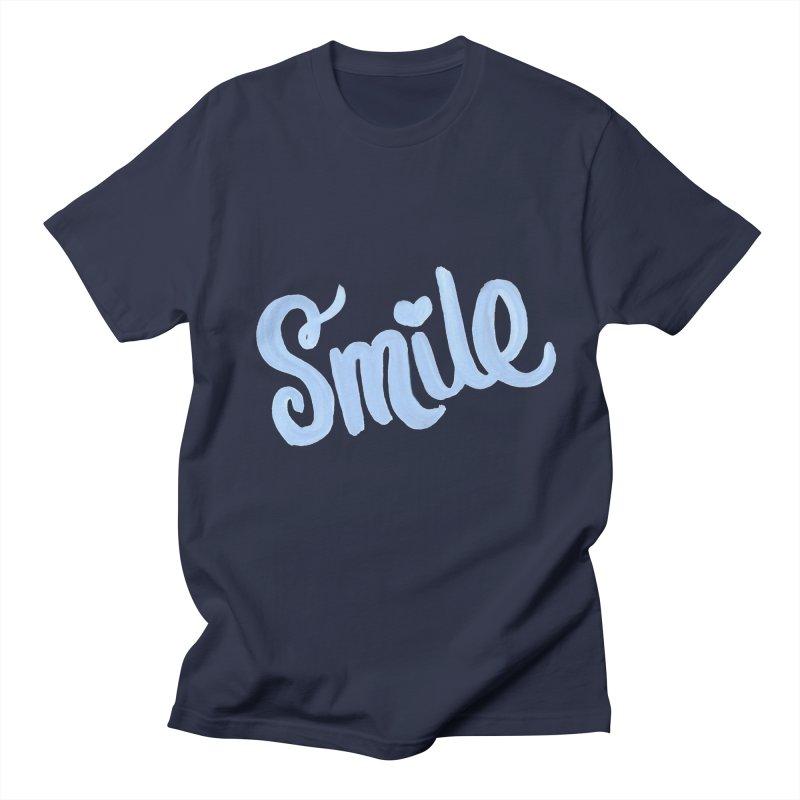 blue smile Men's Regular T-Shirt by MIREYA