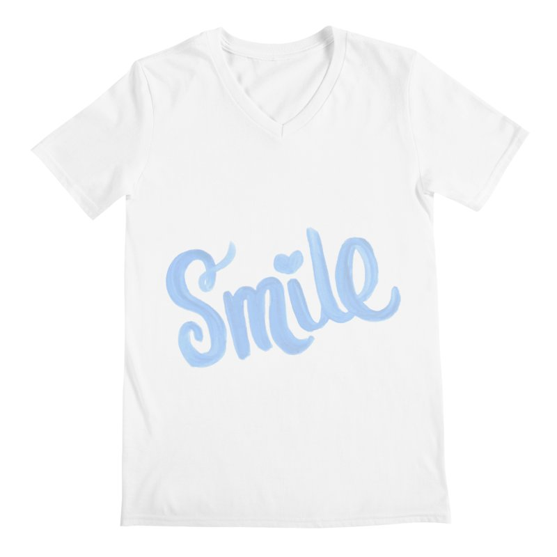 blue smile Men's Regular V-Neck by MIREYA