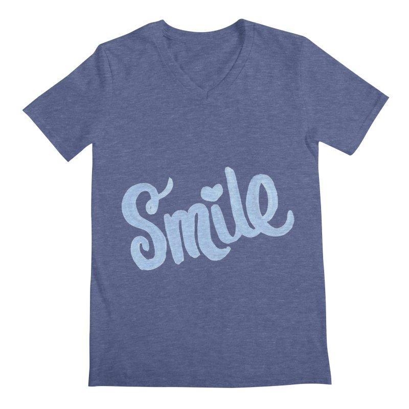blue smile Men's Regular V-Neck by MIREYA