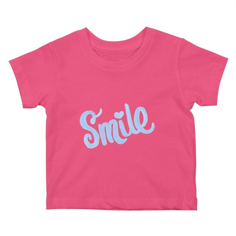 blue smile Kids Baby T-Shirt by MIREYA