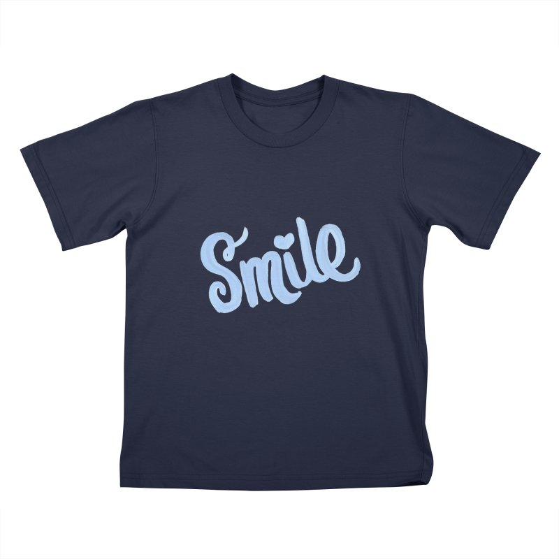 blue smile Kids T-Shirt by MIREYA
