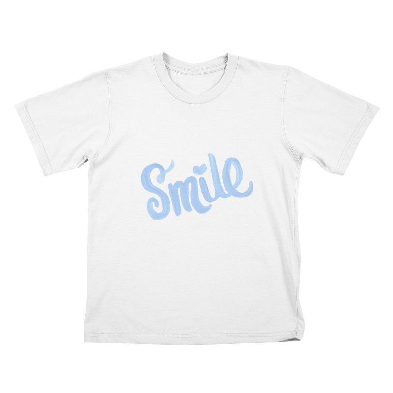 blue smile Kids T-Shirt by MIREYA