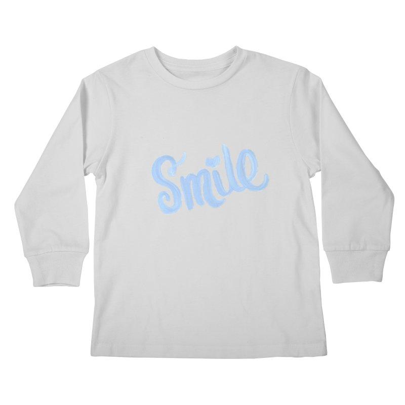 blue smile Kids Longsleeve T-Shirt by MIREYA