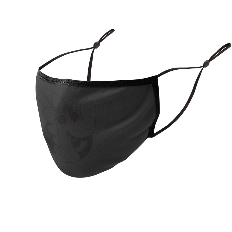 Black Dino Accessories Face Mask by Hellosaurus Swag