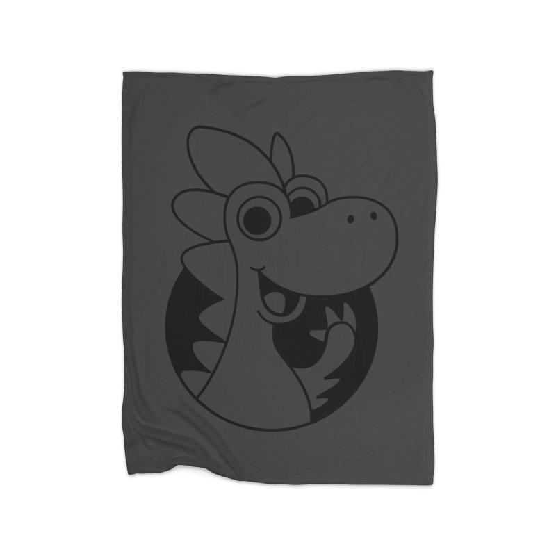 Black Dino Home Blanket by Hellosaurus Swag