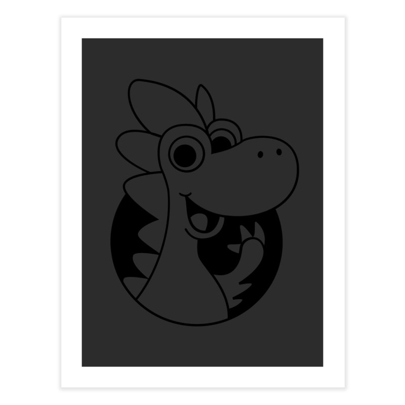 Black Dino Home Fine Art Print by Hellosaurus Swag