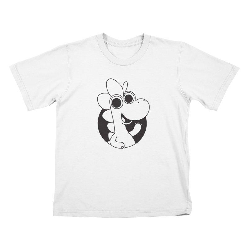 Black Dino Kids T-Shirt by Hellosaurus Swag