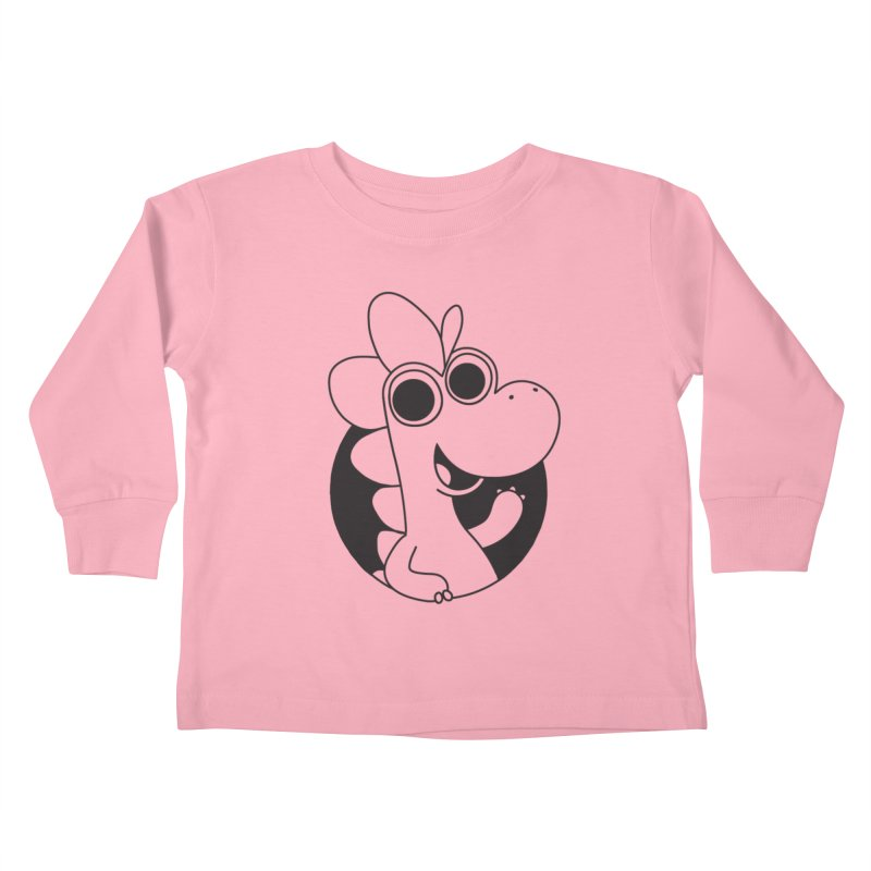 Black Dino Kids Toddler Longsleeve T-Shirt by Hellosaurus Swag