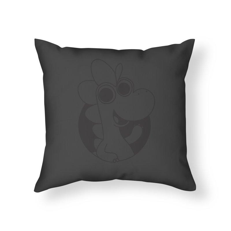 Black Dino Home Throw Pillow by Hellosaurus Swag