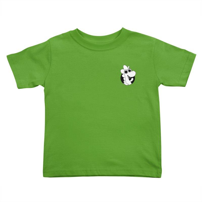 Black & White Dino - Pocket Kids Toddler T-Shirt by Hellosaurus Swag