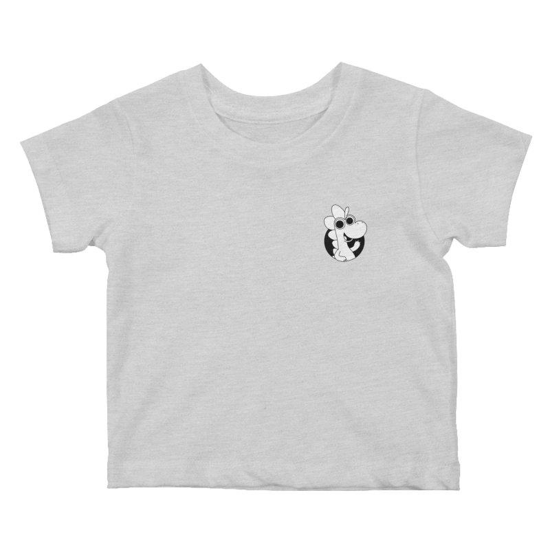 Black & White Dino - Pocket Kids Baby T-Shirt by Hellosaurus Swag