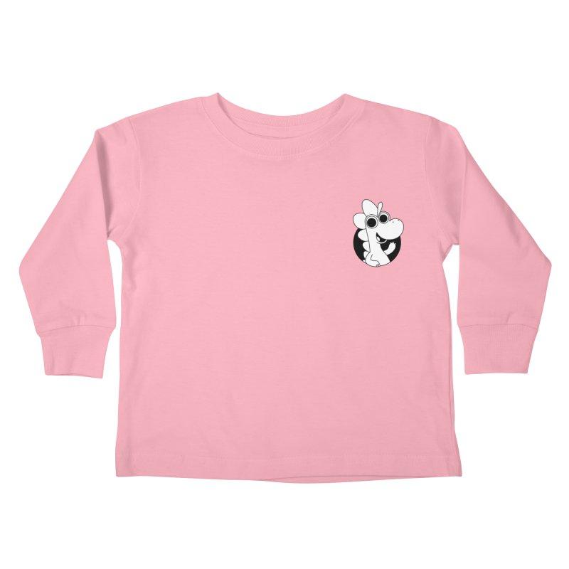 Black & White Dino - Pocket Kids Toddler Longsleeve T-Shirt by Hellosaurus Swag