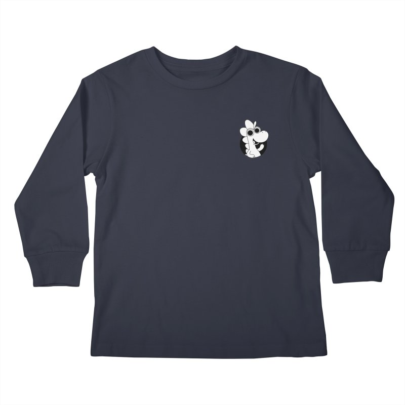 Black & White Dino - Pocket Kids Longsleeve T-Shirt by Hellosaurus Swag