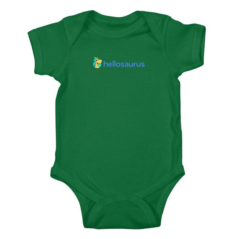 Full Hellosaurus Logo Kids Baby Bodysuit by Hellosaurus Swag