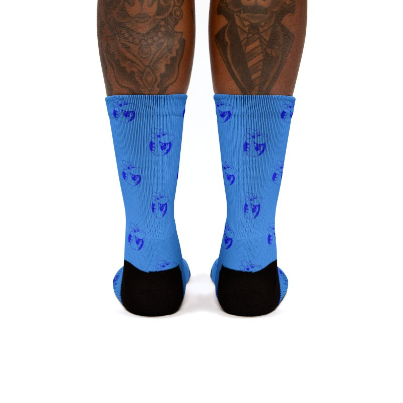 Blue Dino Pattern Women's Socks by Hellosaurus Swag