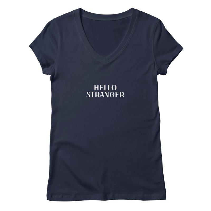 Hello Stranger Font in Women's Regular V-Neck Navy by Hello Stranger Merch