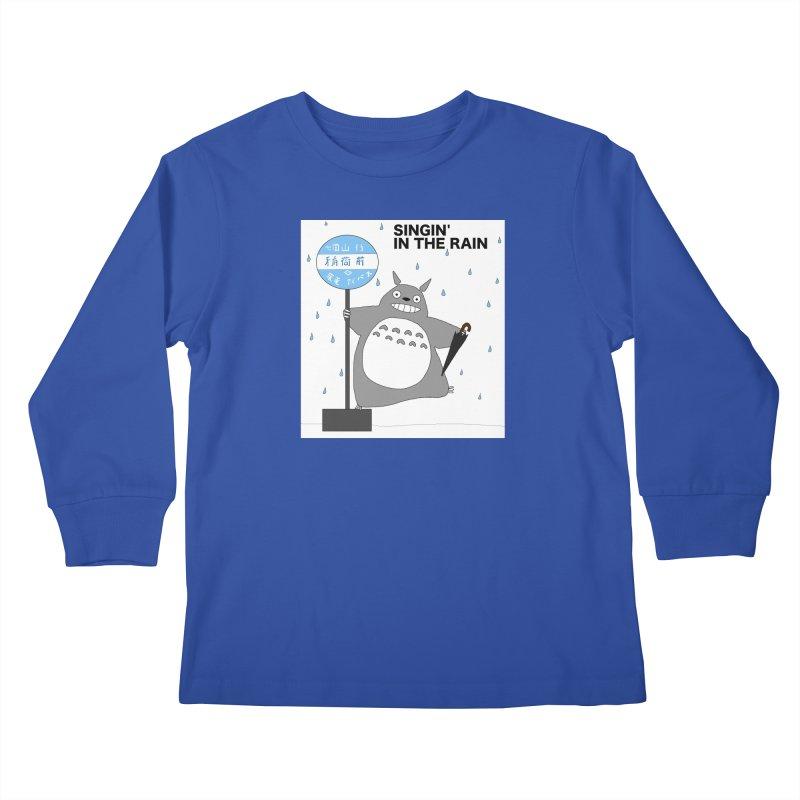 Singin' in the Rain, Totoro-style Kids Longsleeve T-Shirt by henryx4's Artist Shop
