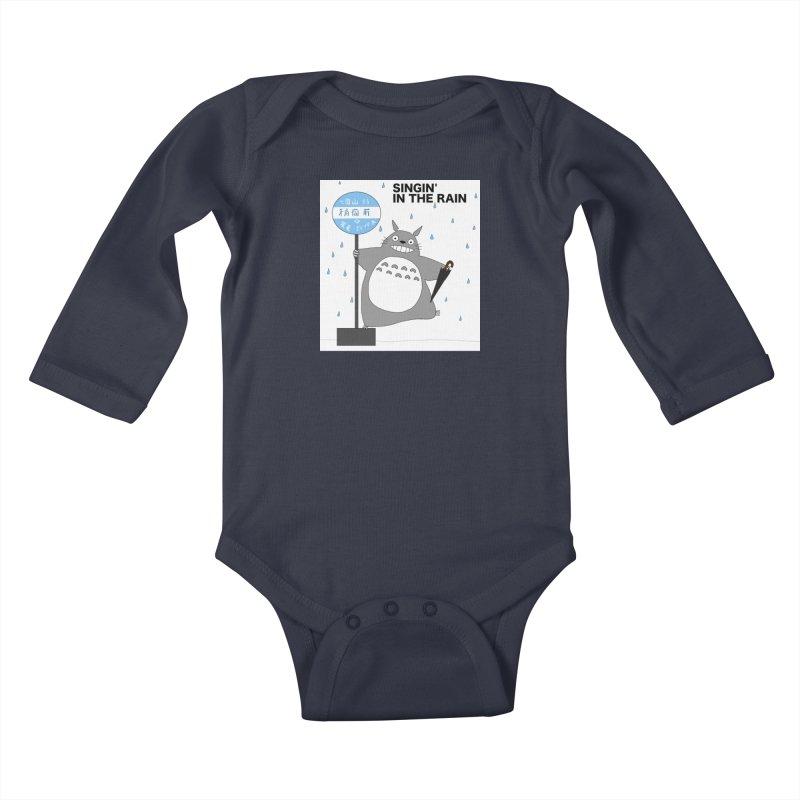 Totoro Singin' in the Rain (updated) Kids Baby Longsleeve Bodysuit by henryx4's Artist Shop