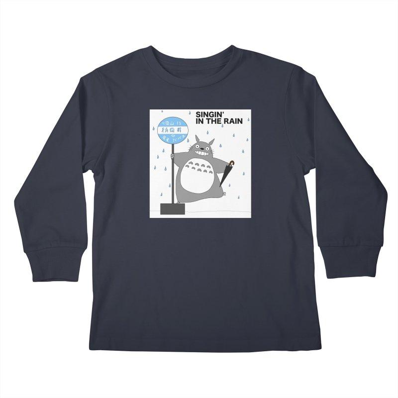 Totoro Singin' in the Rain (updated) Kids Longsleeve T-Shirt by henryx4's Artist Shop