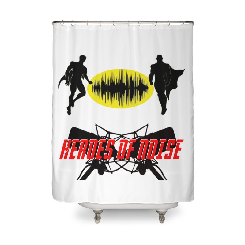 Heroes of Noise Podcast Logo Home Shower Curtain by Heroes of Noise Artist Shop