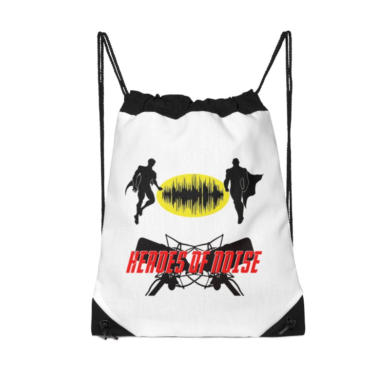 Heroes of Noise Podcast Logo Accessories Drawstring Bag Bag by Heroes of Noise Artist Shop