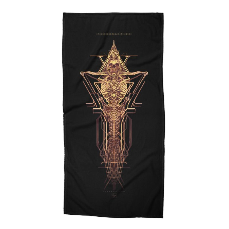 TEKNOBLIVION II - Golden Edition Accessories Beach Towel by HEXAD - Art and Apparel