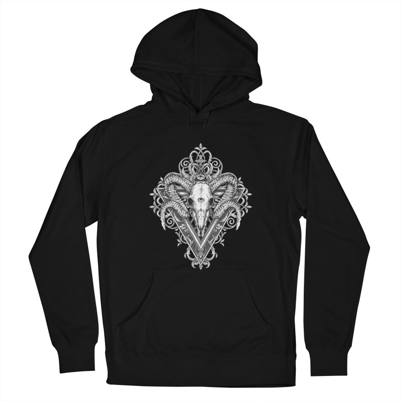 Ram Skull One Women's French Terry Pullover Hoody by HEXAD - Art and Apparel