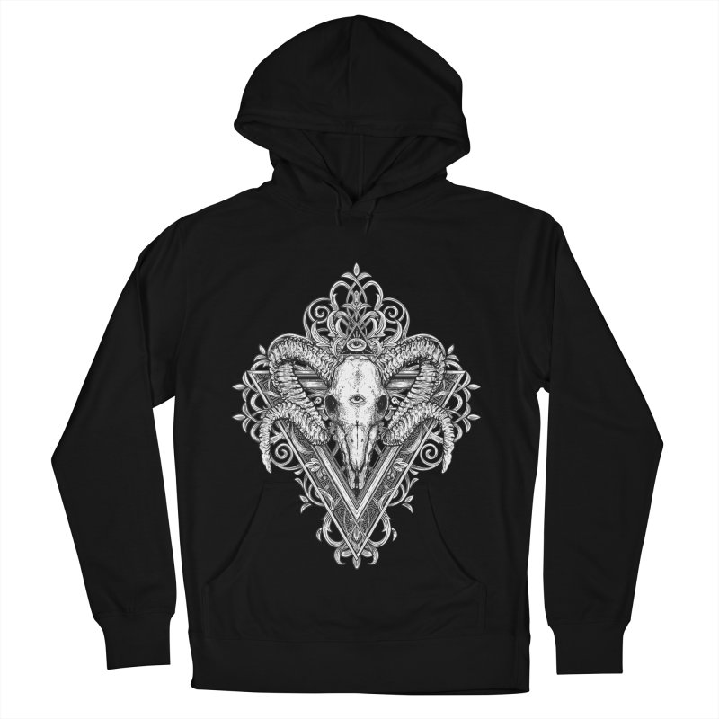 Ram Skull One Men's French Terry Pullover Hoody by HEXAD - Art and Apparel