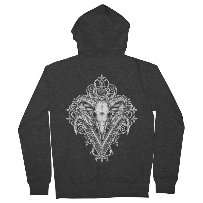 Ram Skull One Men's French Terry Zip-Up Hoody by HEXAD - Art and Apparel
