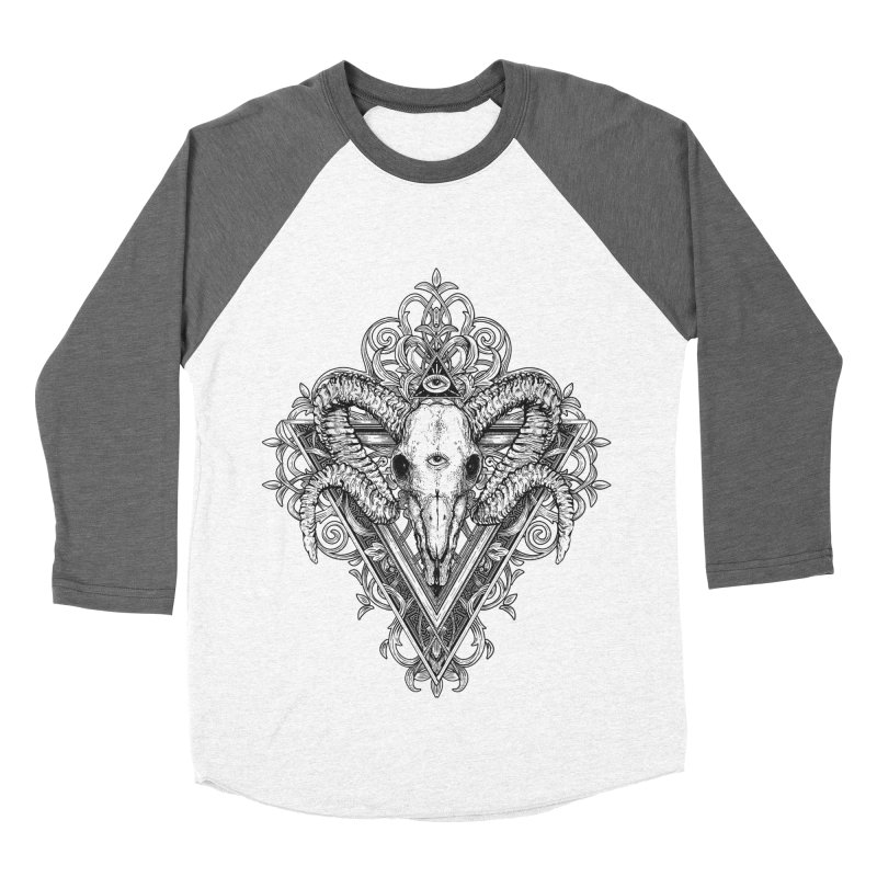 Ram Skull One Men's Baseball Triblend T-Shirt by HEXAD - Art and Apparel