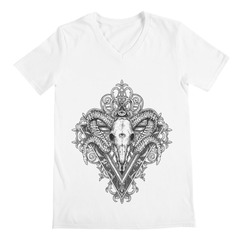 Ram Skull One Men's V-Neck by HEXAD - Art and Apparel