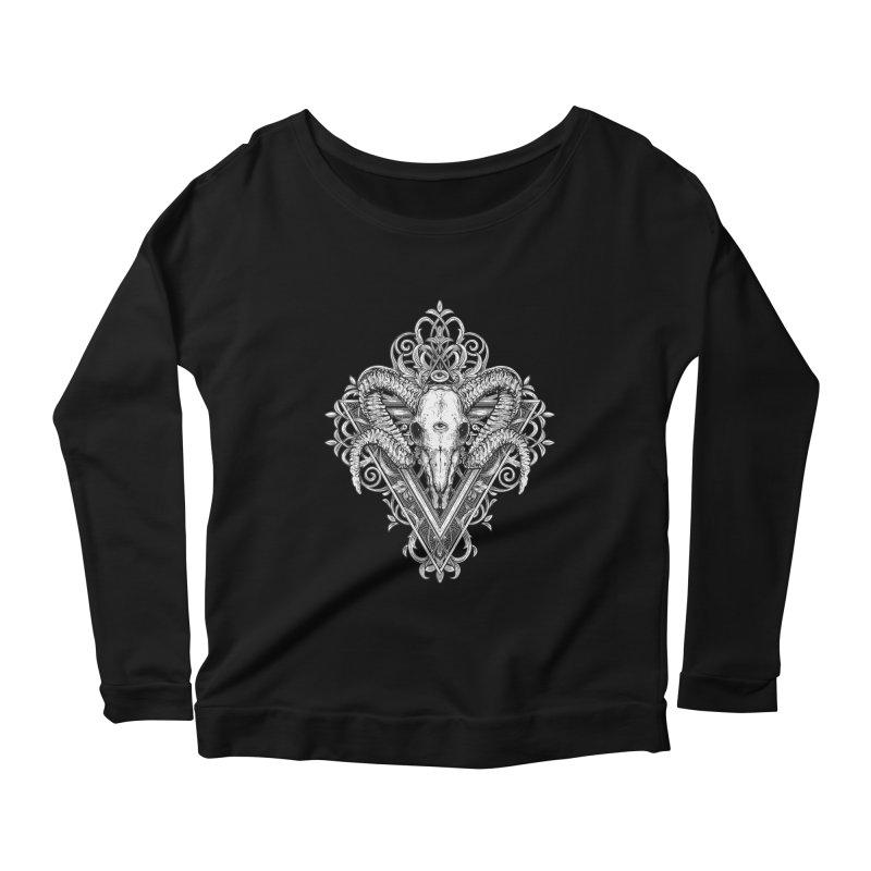 Ram Skull One Women's Scoop Neck Longsleeve T-Shirt by HEXAD - Art and Apparel