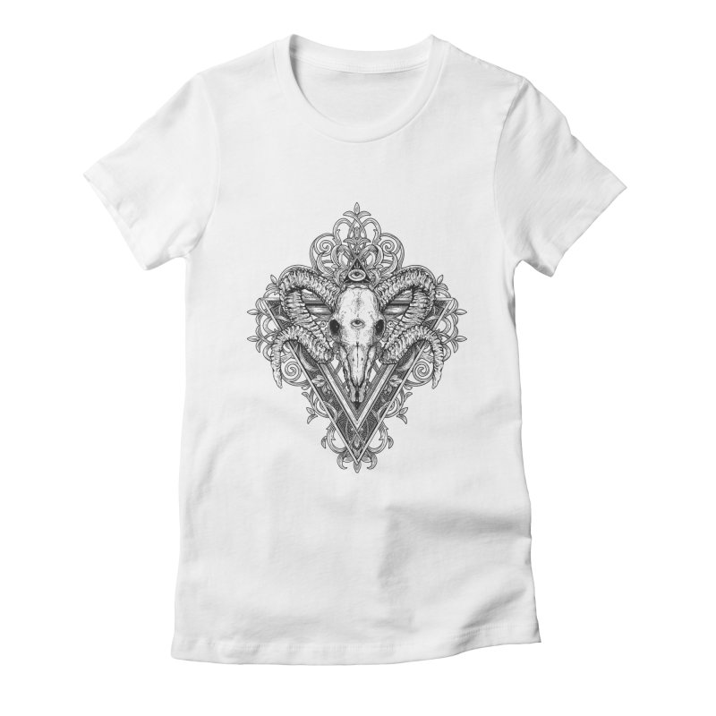 Ram Skull One Women's Fitted T-Shirt by HEXAD - Art and Apparel