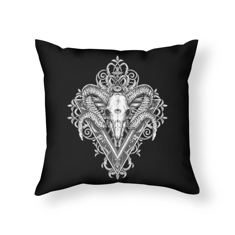 Ram Skull One Home Throw Pillow by HEXAD - Art and Apparel