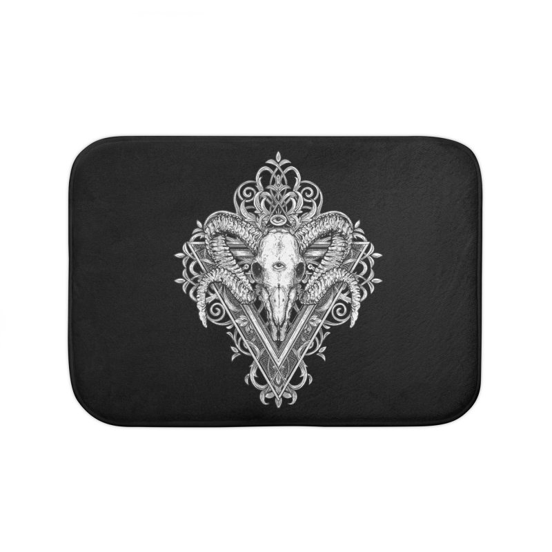 Ram Skull One Home Bath Mat by HEXAD - Art and Apparel