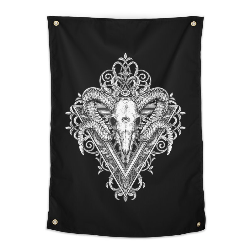 Ram Skull One Home Tapestry by HEXAD - Art and Apparel