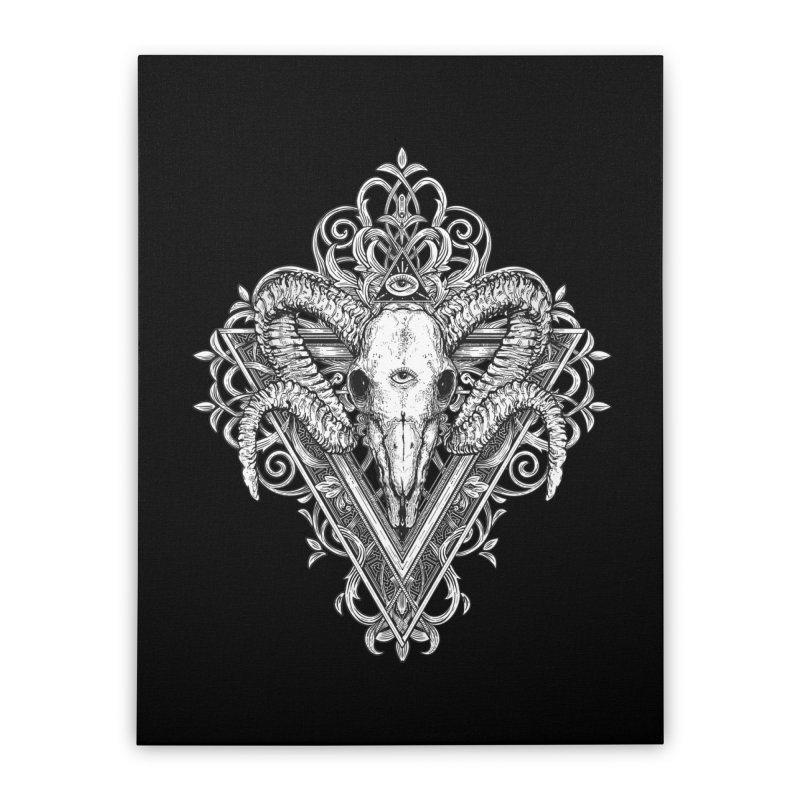 Ram Skull One Home Stretched Canvas by HEXAD - Art and Apparel