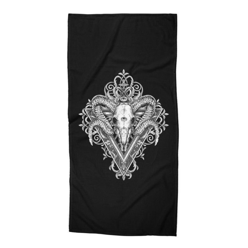 Ram Skull One Accessories Beach Towel by HEXAD - Art and Apparel