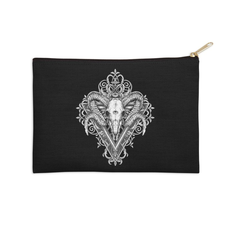 Ram Skull One Accessories Zip Pouch by HEXAD - Art and Apparel