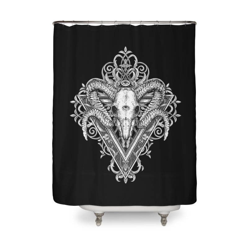 Ram Skull One Home Shower Curtain by HEXAD - Art and Apparel