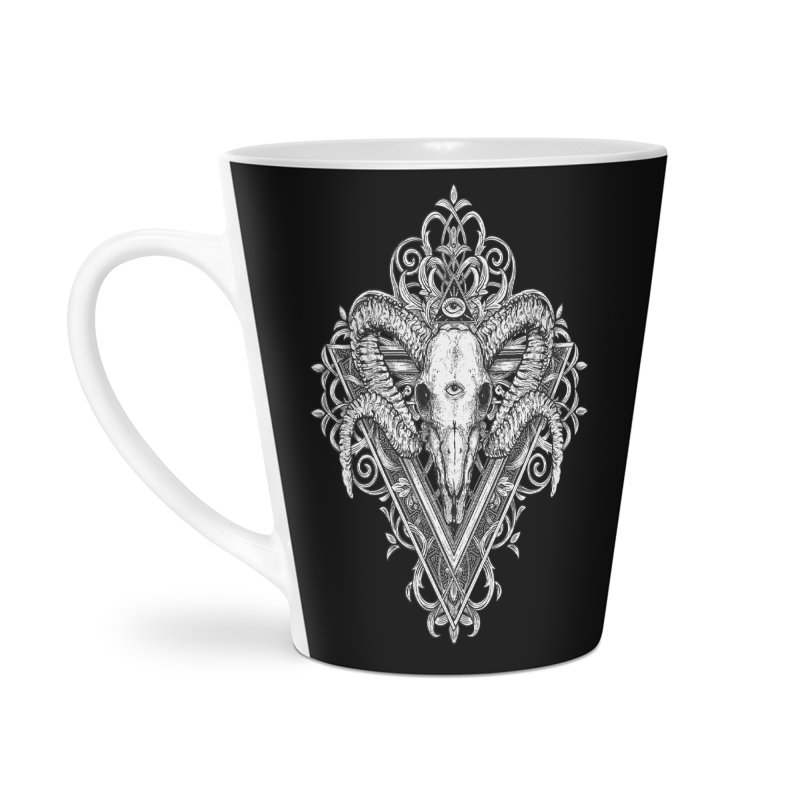 Ram Skull One Accessories Latte Mug by HEXAD - Art and Apparel