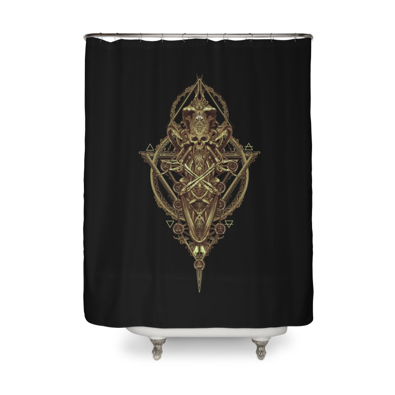 SYMBOLIC - Gold Edition Home Shower Curtain by HEXAD - Art and Apparel