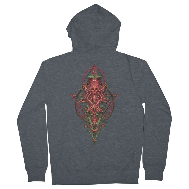SYMBOLIC - Red Edition Men's French Terry Zip-Up Hoody by HEXAD - Art and Apparel