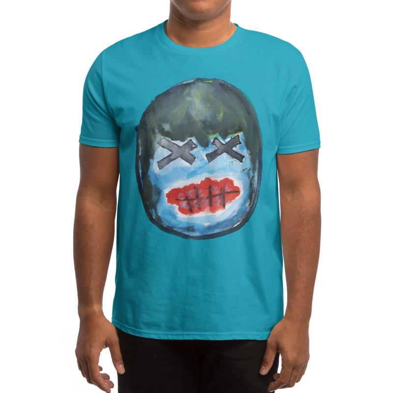 Mask Three - Blue Voodoo Mask Men's T-Shirt by heyK's Artist Shop