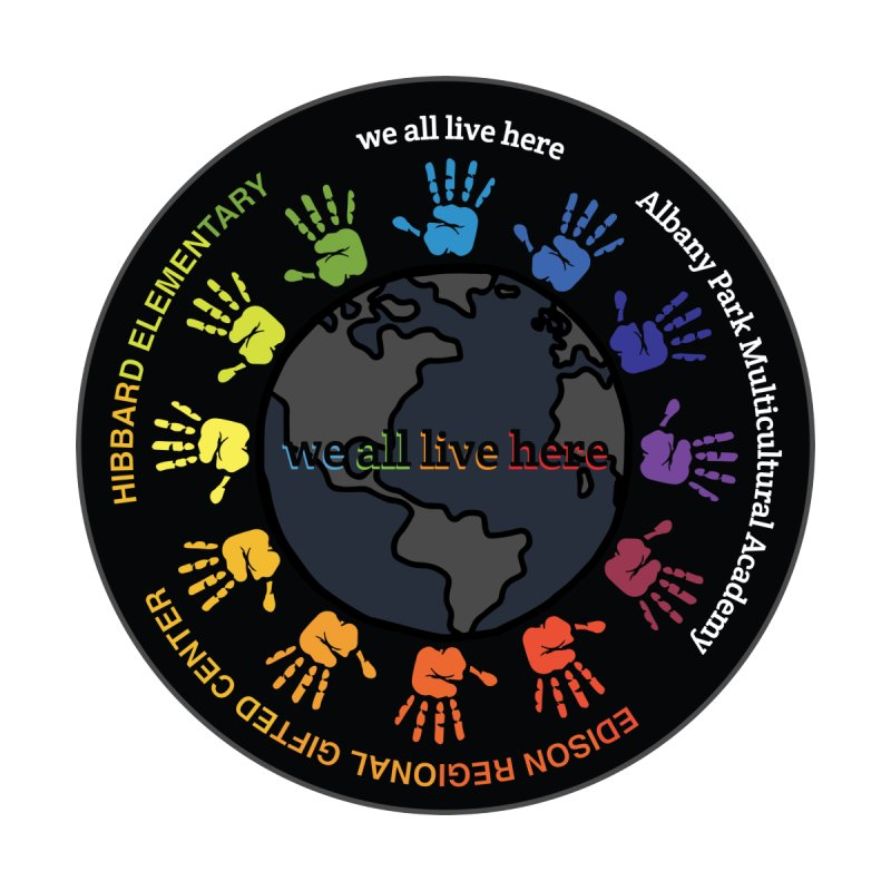 we all live here Logo by Hibbard Elementary