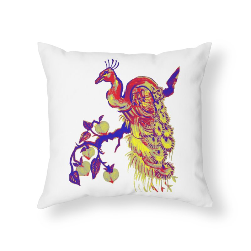 Primary Color Peacock in a Peach Tree Home Throw Pillow by The Art Shop of HiddenStash